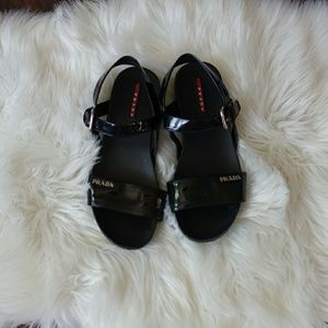 Prada black strappy sandals shinny size 39